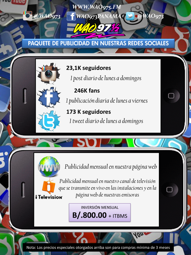 TARIFAS REDES SOCIALES